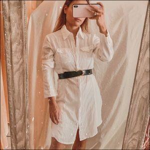Miilla White Button Down contrast ribbed dress
